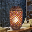 Copper Lantern Nightstand Light Antique Metal 1 Light Study Room Night Table Lighting