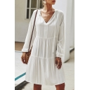 Womens Simple Drawstring V-Neck Long Sleeves Whole Colored Midi A-Line Dress