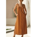 Elegant Ladies' Sleeveless V-Neck Button Down Solid Color Maxi A-Line Tank Dress
