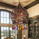 1 Head Domed Hanging Lamp Bohemian Metal Ceiling Pendant Light in Copper with Crystal Bead