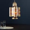 Brass Lantern Hanging Chandelier Antique Metal 3 Lights Restaurant Pendant Light Fixture