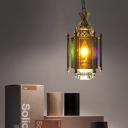 Metal Brass Chandelier Light Fixture Lantern 2 Bulbs Arabic Hanging Lamp Kit for Restaurant