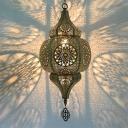 1 Light Hollow Hanging Ceiling Light Art Deco Brass Metal Pendant Lighting for Restaurant