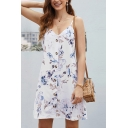 Summer Pretty Ladies Sleeveless Button Down All Over Floral Print Mini A-Line Cami Dress