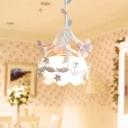 1 Light Flower Pendant Lamp Pastoral White Metal Hanging Light Fixture for Living Room