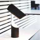 Metal Cylinder Table Lamp Modernism 1 Bulb Reading Book Light in Black for Study