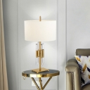 Gold Tube Table Light Modern 1 Bulb Clear Crystal Small Desk Lamp with Fabric Shade