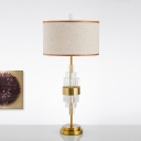 Straight Sided Shade Desk Light Modernist Fabric 1 Bulb Night Table Lamp in Gold