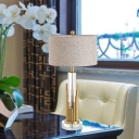 Fabric Cylindrical Desk Lamp Modern 1 Head Reading Book Light in Gold with Metal Base