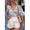 Fancy Women Puff Sleeves Surplice Neck All Over Floral Printed Fitted Shirt
