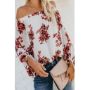 Pretty Girls' Long Sleeve Off the Shoulder All Over Flower Pattern Loose Fit Shirt