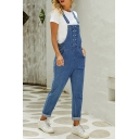 Classic Women's Plain High Rise Double Breasted Rolled Cuffs Carrot Fit Suspender Jeans