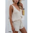 Stylish Chic Ladies' Apricot Sleeveless V-Neck Elastic Waist Knitted Relaxed Tank Top with Shorts