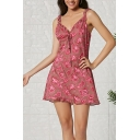 Pretty Girls' Red Sleeveless V-Neck All Over Floral Pattern Stringy Selvedge Ruched Short A-Line Cami Dress for Party