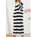 Cool Casual Girls Long Sleeve Round Neck Stripe Printed Maxi Knit T-Shirt Dress in Black