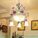 Green 5/7 Lights Chandelier Lighting Antique Metal Bowl Ceiling Light with Flower Decor for Dining Room