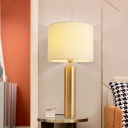 1 Bulb Bedside Task Lighting Modern White Reading Book Light with Drum Fabric Shade