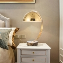 Bowl Metal Nightstand Lamp Modern 1 Bulb Gold Task Lighting with Round Marble Shade