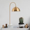 Hemisphere Task Lamp Modern Metal 1 Head Brass Desk Light with White Square Mable Base