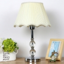 Conical Table Light Modern Fabric 1 Bulb Small Desk Lamp in Beige with Metal Base