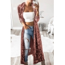 Fashionable Women's Long Sleeve Open Front Velvet Longline Relaxed Plain Trench Coat