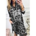 Women's Trendy Long Sleeve V-Neck Skull Camo Printed Slit Side Short Shift T-Shirt Hoodie Dress
