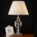 Modern Urn Desk Light Cut Crystal 1 Head Night Table Lamp in Grey with Fabric Shade