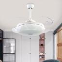 White Geometric Pendant Fan Lamp Contemporary 48