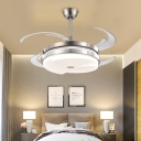 Stain Nickel Circle Ceiling Fan Lamp Modernist Acrylic Living Room LED Semi Flush Mount Light with 8 Blades, 48