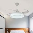 White LED Hanging Fan Light Modernist Acrylic Drum 8 Blades Semi Flush Lamp Fixture for Bedroom, 48