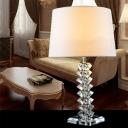 Geometrical Task Lighting Modernist Faceted Crystal 1 Bulb Small Desk Lamp in Grey