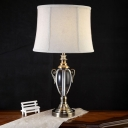 Modernist Drum Task Light Fabric 1 Bulb Night Table Lamp in Grey with Metal Base