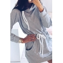 Casual Cozy Girls' Long Sleeve Cowl Neck Drawstring Waist Plain Mini Sheath Sweatshirt Dress