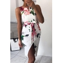 Gorgeous Women's Sleeveless V-Neck All Over Flower Pattern Tie Waist Slit Midi Tight Dress in White