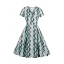 Dressy Girls' Short Sleeve V-Neck Snake Printed Ruched Maxi Pleated Swing Dress in Green