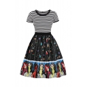 Chic Black Short Sleeve Round Neck Stripe Guitar Cartoon Printed Patchwork Long Pleated Swing Dress for Girls