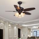 Antiqued Flower Hanging Fan Lamp 3 Heads 42