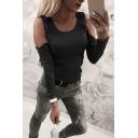 Designer Women's Long Sleeve Cold Shoulder Floral Embroidery Slim Fit T-Shirt in Black