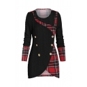 Leisure Girls' Long Sleeve Round Collar Double Breasted Plaid Print Panel Cable Knit Long Fit Wrap Sweater Top