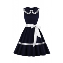 Cute Fancy Girls' Sleeveless Peter Pan Collar Striped Bow Tie Waist Pleated Flared Dress in Navy