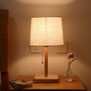 Pagoda Task Light Contemporary Fabric 1 Bulb Small Desk Lamp in Wood with Pull Chain