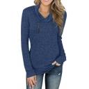 Trendy Ladies' Plain Long Sleeve Cowl Neck Zipper Detail Slim Fit T-Shirt
