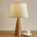 Fabric Drum Nightstand Lamp Modernist 1 Bulb Task Lighting in White with Wood Base