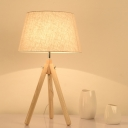 Contemporary 1 Head Task Lighting Flaxen/White/Grey Flare Night Table Lamp with Fabric Shade