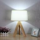 Drum Table Lamp Modernism Fabric 1 Bulb White Reading Book Light for Living Room