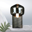 Gray Glass Shaded Table Light Modern 1 Bulb Small Desk Lamp with Cylindrical Resin Base
