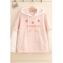 Lovely Girls' Pink Long Sleeve Strawberry Graphic Stringy Selvedge Colorblock Drawstring Hoodie