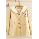 Leisure Fashion Girls' Long Sleeve Sailor Collar Button Down Cat Printed Patched Pocket Relaxed Fit Coat