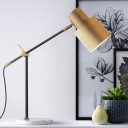 Metal Cylindrical Desk Light Modern 1 Bulb Table Lamp in Brass with Rotating Node