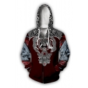 Hip Hop Popular Guys' Long Sleeve Drawstring Viking Tattoo 3D Patterned Colorblocked Zipper Front Relaxed Fit Cosplay Hoodie
